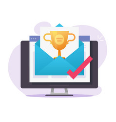 Online web gift award email received on computer vector