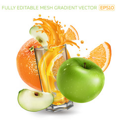 Orange green apple and splashing juice in a glass vector