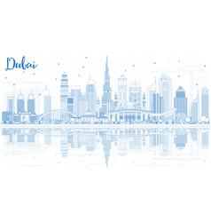 Outline dubai uae skyline with blue buildings and vector