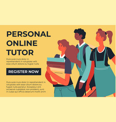 Personal online tutor courses for students in web vector