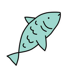 raw fish blue color icon saltwater animal vector image