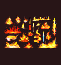 realistic fire flames set red burning fire flame vector image