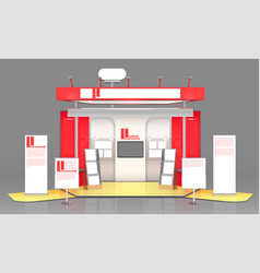 Red exhibit display case design vector