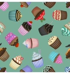 Seamless pattern with different cupcakes vector image