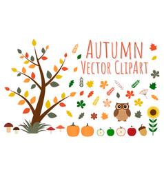 Set autumn clipart vector