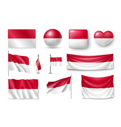 set monaco flags banners banners symbols flat vector image