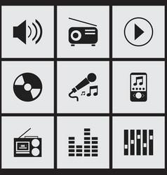 Set of 9 editable media icons includes symbols vector