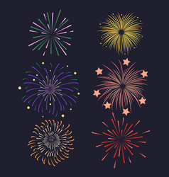 set of firework brusting with colorful sparkling vector image