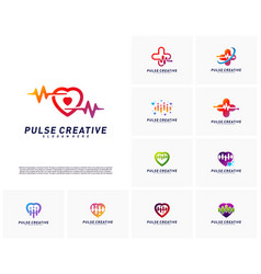 Set of love medical pulse logo design vector