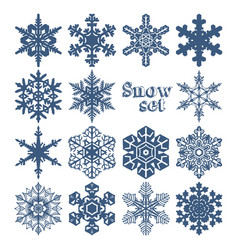 set of snowflakes of different shapes on a white vector image