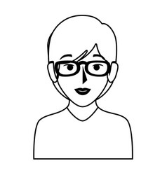 Silhouette of half body woman with short hair and vector