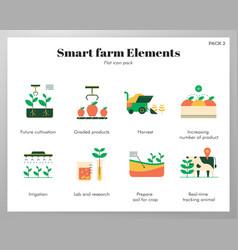 Smart farm elements flat pack vector
