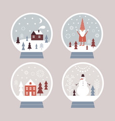 snow globes set christmas vector image