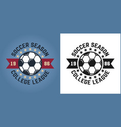 soccer season two emblems for college team vector image