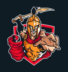 Sparta warrior mascot logo emblem vector