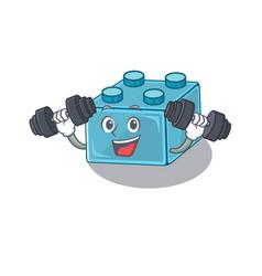 Sporty fitness exercise lego brick toys mascot vector