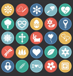 Spring icons set on color circles black background vector