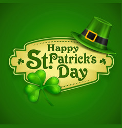 st patrick day green poster vector image vector image