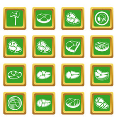 Steak icons set green vector