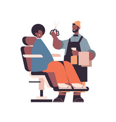 Stylish hairdresser cutting hair male client vector