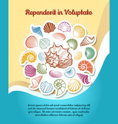 Summer travel poster with sketch seashells vector