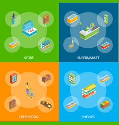 supermarket or shop banner set isometric view vector image