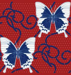 Symmetric ornament butterflies dots and vector