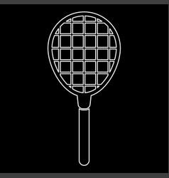 Tennis racquet white color icon vector
