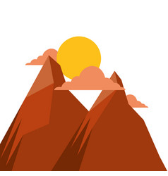 two mountain natural flora land sunset scene vector image