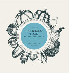 vegetables - hand drawn round banner vector image