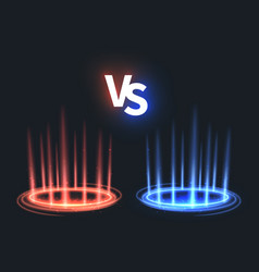 versus glowing teleport effect on floor vs battle vector image