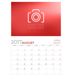 wall calendar planner template for august 2017 vector image