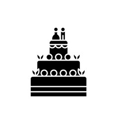 wedding tasty cake black icon sign on vector image