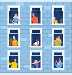 Window neighbourhood people looking out vector
