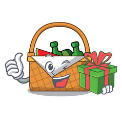 With gift picnic basket mascot cartoon vector
