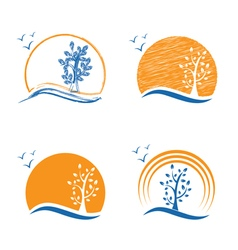 Abstract icon of treesun and birds vector image