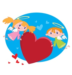 angels and hearts vector image vector image