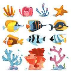cartoon aquarium decor objects - underwater vector image vector image