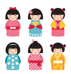 dolls in japanese style vector image vector image