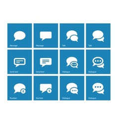 Message bubble icons on blue background vector image vector image