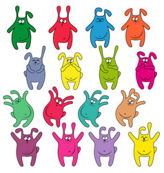 sixteen thick funny rabbits vector image vector image