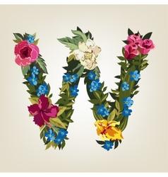 W letterFlower capital alphabet Colorful font vector image vector image