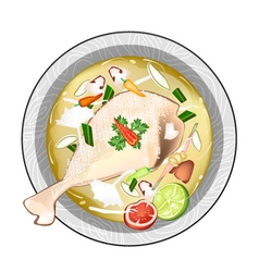 Chicken Tom Yum or Thai Sour Soup with Chicken vector image