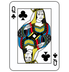 queen of clubs french version vector image vector image