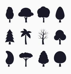tree silhouette icons set vector image