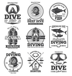 underwater scuba diving club vintage vector image vector image