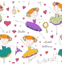 Ballerina and accessories seamless pattern vector