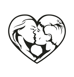 couple kissing in the heart vector image