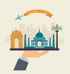 welcome to india attractions of india on a tray vector image vector image