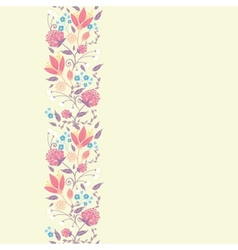 Fresh field flowers and leaves vertical seamless vector image vector image